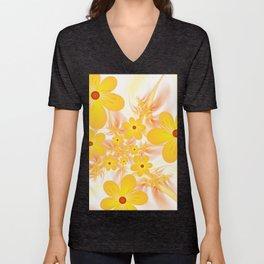 Yellow Flowers, Fractals Art Unisex V-Neck