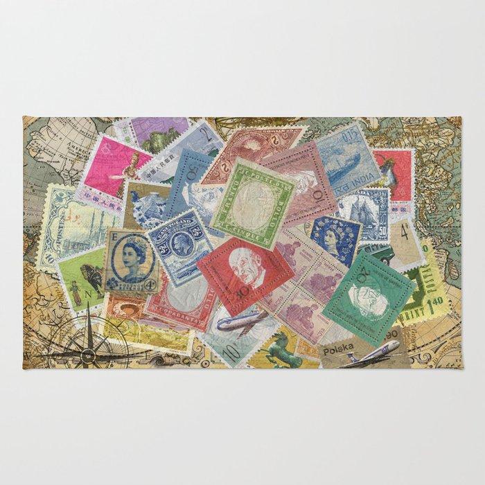 World Stamps Rug