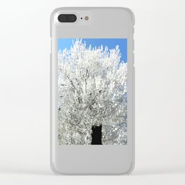 Trees Snow White Clear iPhone Case