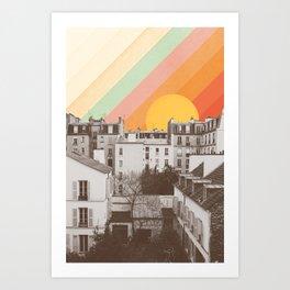 Rainbow Sky Above Paris Art Print