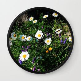 Wildflowers by the River Wall Clock
