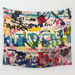 Urban Graffiti Paper Street Art Wall Tapestry