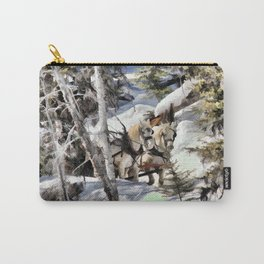 Horses in the Winter Carry-All Pouch