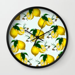 Cute Lemon Print on Blue Background Wall Clock