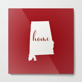 Alabama is Home - White on Red Metal Print