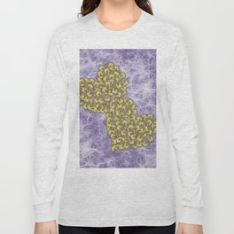Butterfly swarms in heart shape on purple web texture Long Sleeve T-shirt