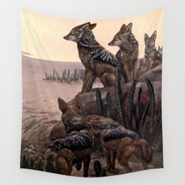 Vintage Jackals Painting (1909) Wall Tapestry