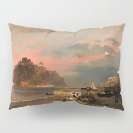 View of Ischia and Maronti Beach with Aragonese Castle by Oswald Achenbach Italian Landscape Pillow Sham