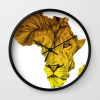 musa Wall Clocks featuring King Of The Jungle! by DeMoose_Art
