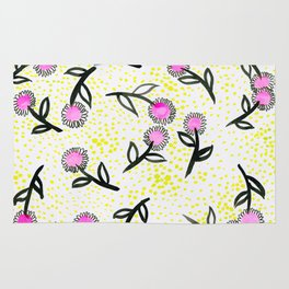 Pink flowers and green dots Pattern Rug