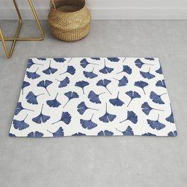 Blue Ginkgo Biloba Pattern Rug