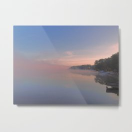 Foggy Morning on the Lake Metal Print