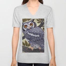 White Faced Owl Unisex V-Neck