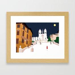 Spanish Steps in Snowy Rome Framed Art Print
