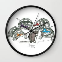 ninja turtles Wall Clocks featuring Ninja Turtles by Vickn