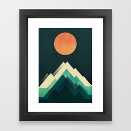 Ablaze on cold mountain Framed Art Print