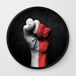 Maltese Flag on a Raised Clenched Fist Wall Clock