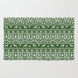Whippet fair isle dog breed pattern christmas holidays gifts dog lovers green and white Rug