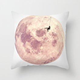 Pink Moon Climbing Throw Pillow