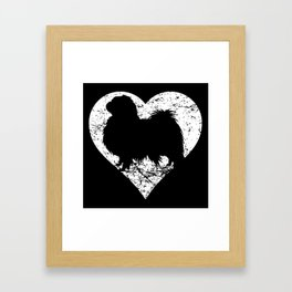 Distressed Japanese Chin Heart Dog Owner Graphic Framed Art Print