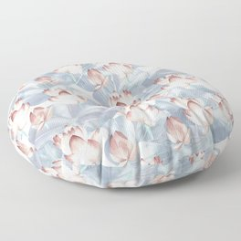 Lotus Flowers in Pink and Grey Floor Pillow