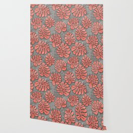 leaves coral pink on concrete grey seamless pattern Wallpaper