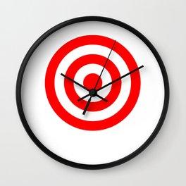 Bullseye Target Red & White Shooting Rings Wall Clock