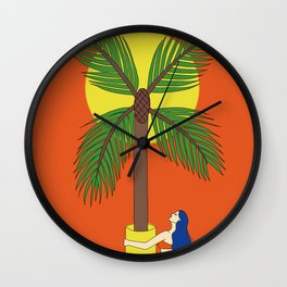 Palm tree vase - take you home Wall Clock