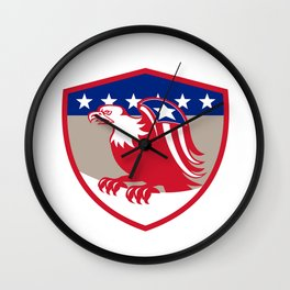 American Eagle Flag Wings Perching Crest Retro Wall Clock