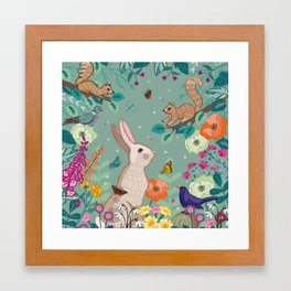 Hare, Squirrel & Blackbird Framed Art Print