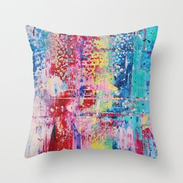 Pastel Gerhard Richter Inspired Acrylic Painting Throw Pillow