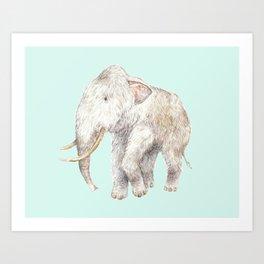 Woolly Mammoth Watercolor Mastodon Painting Art Print