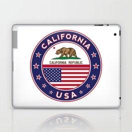 California, California t-shirt, California sticker, circle, California flag, white bg Laptop & iPad Skin