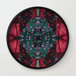 red lace - a modern, colorful collage Wall Clock