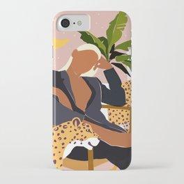 Girl Boss, Woman Empower Feminism Cheetah Illustration, Wild Cat Tiger Boho Leopard Tropical Moon iPhone Case