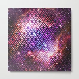 Ikat Diamond Galaxy Metal Print