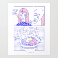 ramen Art Prints featuring ramen by 96step
