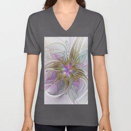Flourish, Abstract Fractal Art Flower Unisex V-Neck