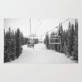 Ski Chair Lift B&W \\ Deep Snow Season Pass Dreams \\ Snowy Winter Mountains Landscape Photography Rug