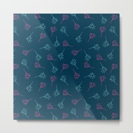 Navy blue teal neon pink modern floral stripes Metal Print