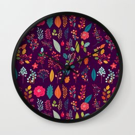 Autumn orange purple pink berries holly floral Wall Clock