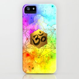 Sacred Geometry Metatron's Cube Om Chant iPhone Case