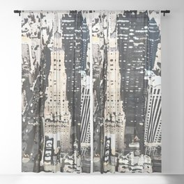 425 Park Avenue NYC City View Watercolor Graphic Sheer Curtain
