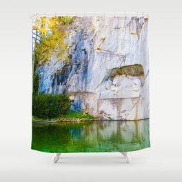 The Fallen Lion Shower Curtain