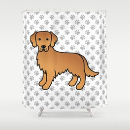 Red Golden Retriever Breed Dog Cute Cartoon Illustration Shower Curtain