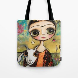 Frida Kahlo and the white coat Tote Bag