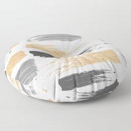 Abstract watercolor black gray gold glitter brushstrokes Floor Pillow