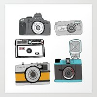 cameras Art Prints featuring Cameras by Josh Ross