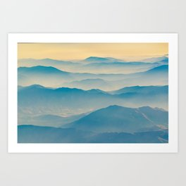 Chilean Andes Mountain Aerial View Art Print
