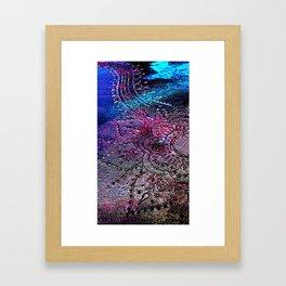 Henna Mehndi Mandala Print, turquoise, blue, magenta, black Framed Art Print